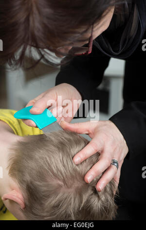 Mother checking childs head for lice with a comb - Stock Photo