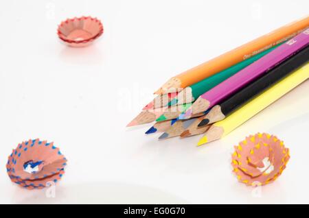 Coloured pencils isolated on white background - Stock Photo