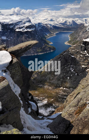 View of Trolltunga and the valley underneath from the distance, Norway - Stock Photo
