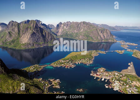 Scenic aerial view of town Reine and surrounding fjords on Lofoten islands - Stock Photo