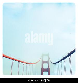 Golden Gate Bridge in fog, San Francisco, California, America, USA - Stock Photo