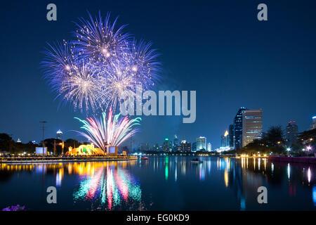 Thailand, Bangkok, Firework festival - Stock Photo
