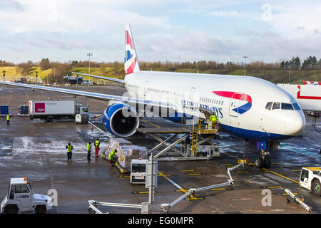 ... British Airways Plane Being Loaded And Unloaded At Gatwick Airport,  London, England, UK