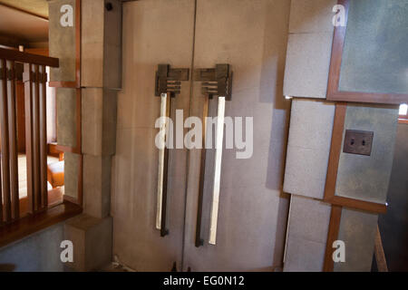 FILE: Los Angeles, California, USA. 24th January, 2015. The inside of the front door at Frank Lloyd Wright's Hollyhock - Stock Photo