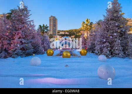 Casino Plaza in Winter, Monte Carlo, Monaco Principality - Stock Photo