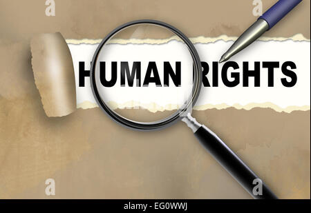 Close-up of word  HUMAN RIGHTS with pen on it - Stock Photo