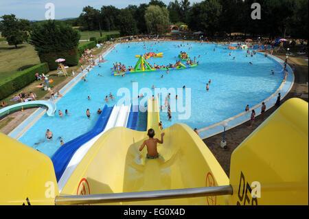 Aqua park in the Lot region of France. - Stock Photo