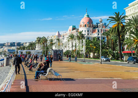 Walkway of the English (Promenade des Anglais), Nice, Alpes-Maritimes Department, Cote d'Azur, France - Stock Photo