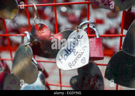 Covent Garden, London, UK. 13th February 2015. Love locks installation in London's Covent Garden in support of the - Stock Photo