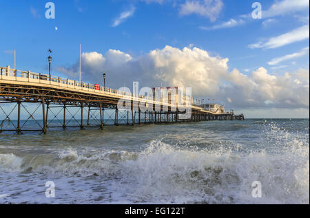 Worthing Pier in evening light in Worthing, West Sussex, England, UK. - Stock Photo