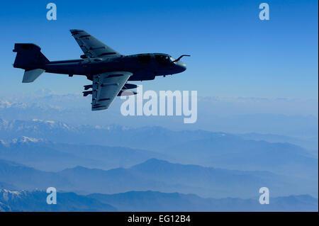 A U.S. Marine Corps EA-6B Prowler from Bagram Airfield, Afghanistan, conducts operations over eastern Afghanistan, Nov. 26, 2009.   Staff Sgt. Michael B. Keller Released