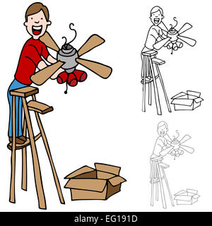 An image of a man on a ladder installing a ceiling fan. - Stock Photo