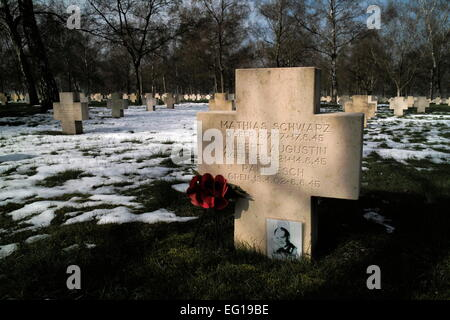 AJAXNETPHOTO. BOURDON, SOMME, FRANCE. - WAR GRAVES - GERMAN WORLD WAR TWO MILITARY CEMETERY NEAR THE SOMME RIVER. - Stock Photo