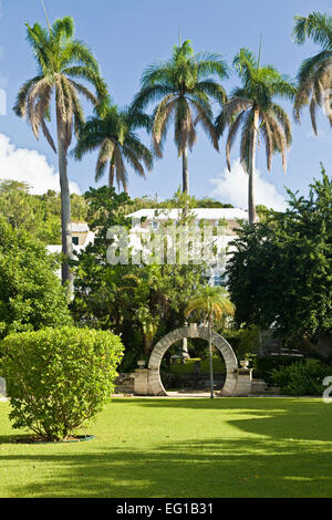 Traditional Bermuda moongate in the public park in St. Georges's, Bermuda. - Stock Photo