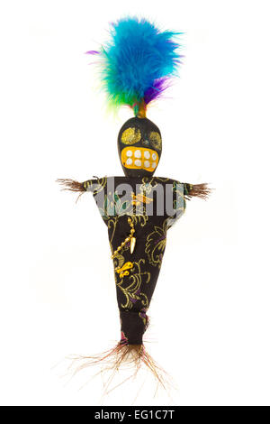 Voodoo doll - studio shot with a white background - Stock Photo