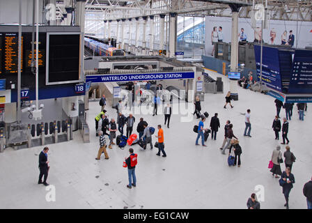 An entrance to Waterloo Underground station from the main concourse, London, England - Stock Photo
