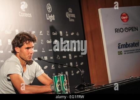 RIO DE JANEIRO, RJ - 13.02.2015: RIO OPEN DE TÊNIS - Rafael Nadal during press conference in Jockey Club Brasileiro - Stock Photo