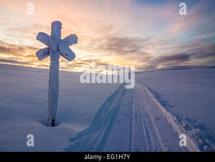 A snowmobile track in the treeless wilderness of Lapland - Stock Photo