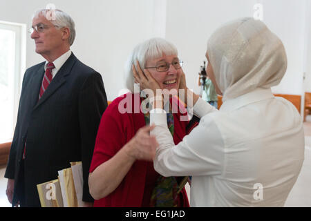 Jerusalem. 12th Feb, 2015. File photo taken on May 21, 2014 shows Cindy (C) and Craig Corrie (L), parents of U.S. - Stock Photo