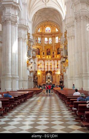 Cathedral interior, Granada, Andalusia, Spain - Stock Photo