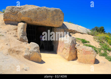 Dolmen of Menga, Antequera, Andalusia, Spain - Stock Photo