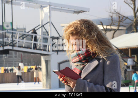 female checks phone in winter surrounding Amsterdam - Stock Photo