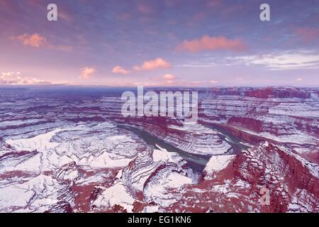 Dead Horse Point State Park in Utah in winter at sunrise - Stock Photo