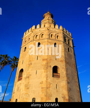 Torre del Oro (Gold tower), Seville, Andalusia, Spain - Stock Photo