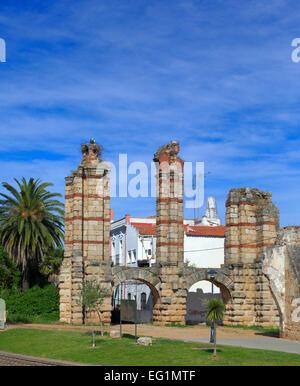 Roman Acueducto de los Milagros (Miraculous Aqueduct), Merida, Extremadura, Spain - Stock Photo