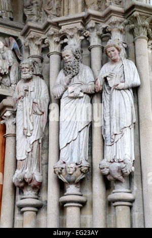 Portal of Notre-Dame cathedral (1235), Lausanne, Switzerland - Stock Photo