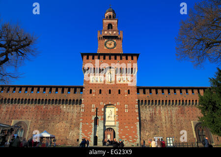 Sforza Castle (Castello Sforzesco), Torre del Filarete (15th century), Milan, Lombardy, Italy - Stock Photo