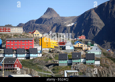 Greenland, Sisimiut, colorful houses on elevated mountain. - Stock Photo