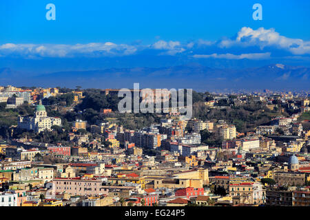 View to Capodimonte from Certosa di San Martino, Naples, Campania, Italy - Stock Photo