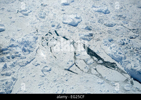 Greenland, Ilulissat, Sermeq Kujalleq, close up of ice breaking on the Greenland icecap. - Stock Photo