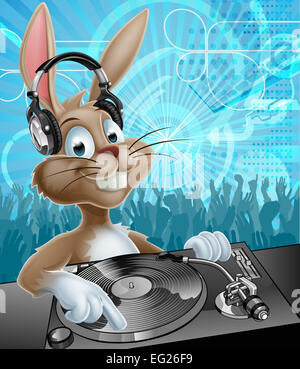 A cartoon Easter Bunny DJ with headphones on at the record decks with party dancing crowd in the background - Stock Photo
