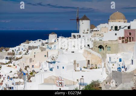 White village of Oia, Santorini, Cyclades, Greece - Stock Photo