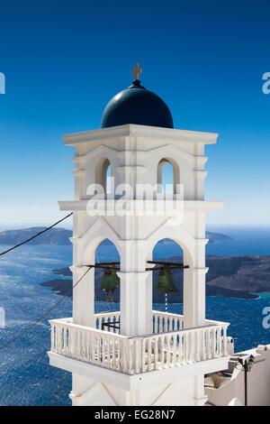 Bell tower of Imerovigli, Santorini, Greece - Stock Photo