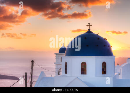 Church of Imerovigli at sunset, Santorini, Cyclades, Greece - Stock Photo