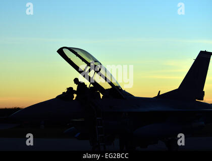 An F-16 Fighting Falcon pilot prepares for takeoff during a two-week close air support training exercise Dec. 17, - Stock Photo