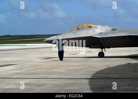 Master Sgt. Shawn Pangborn, 154th Aircraft Maintenance Squadron F-22 Raptor crew chief from Joint Base Pearl Harbor - Stock Photo