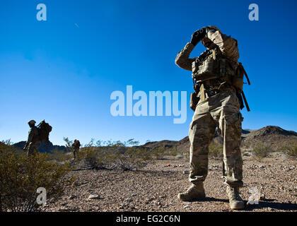U.S. Air Force Staff Sgt. Daniel Esselstrom, 23rd Civil Engineer Squadron explosive ordnance disposal technician - Stock Photo