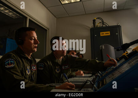U.S. Air Force Capt. Daniel Moore, left, and Capt. Kyle Heiderich, right, check a launch control center panel during - Stock Photo