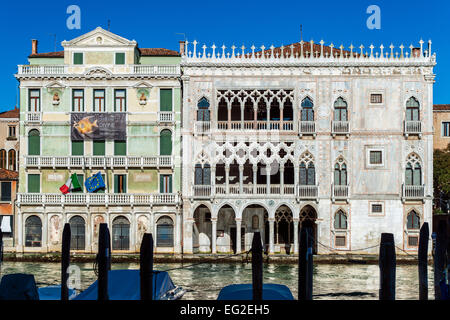 Ca' d'Oro palace or Palazzo Santa Sofia facade overlooking the Grand Canal, Venice, Veneto, Italy - Stock Photo