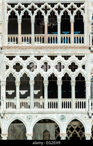 Detail of Ca' d'Oro palace or Palazzo Santa Sofia facade overlooking the Grand Canal, Venice, Veneto, Italy - Stock Photo