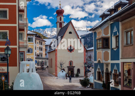 Winter view of Ortisei or St Ulrich, Val Gardena, Alto Adige - South Tyrol, Italy - Stock Photo