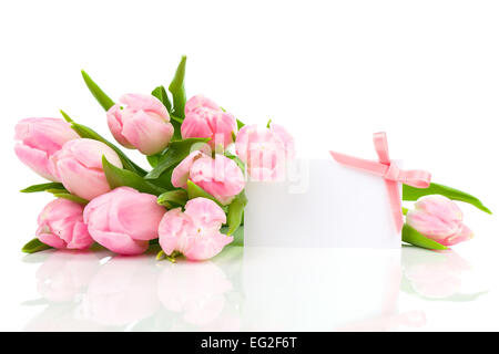 beautiful tulips with blank for text on a white background. happy mothers day, romantic still life, fresh flowers - Stock Photo