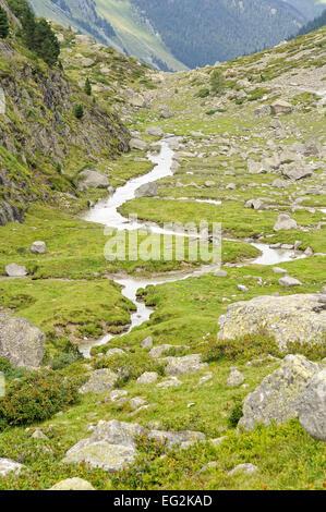 View of Tech Valley near labassa. Val d'Azun. Pyrenees National Park, France. - Stock Photo