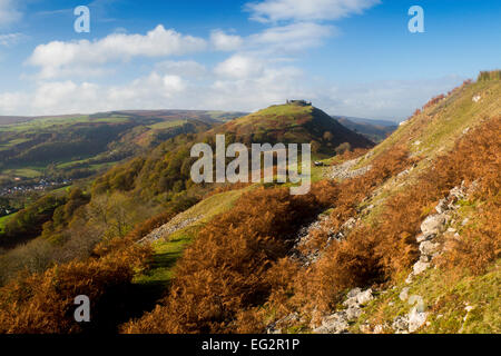 Castell Dinas Bran Castle ruin on hilltop above Vale and town of Llangollen in autumn Denbighshire North East Wales - Stock Photo