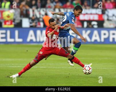 Leverkusen, Germany, soccer, Bundesliga, 14.02.2015, Bayer Leverkusen vs VfL Wolfsburg: Karim Bellarabi (Leverkusen, - Stock Photo