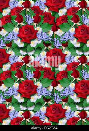 Background from bouquet of red roses with astersand periwinkle - Stock Photo
